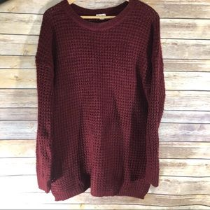 5/$25 Knit sweater wine color size large